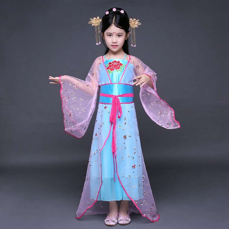 新款儿童古装仙女小姐装唐朝公主古代贵妃舞蹈cos演出汉服童拖尾_红色