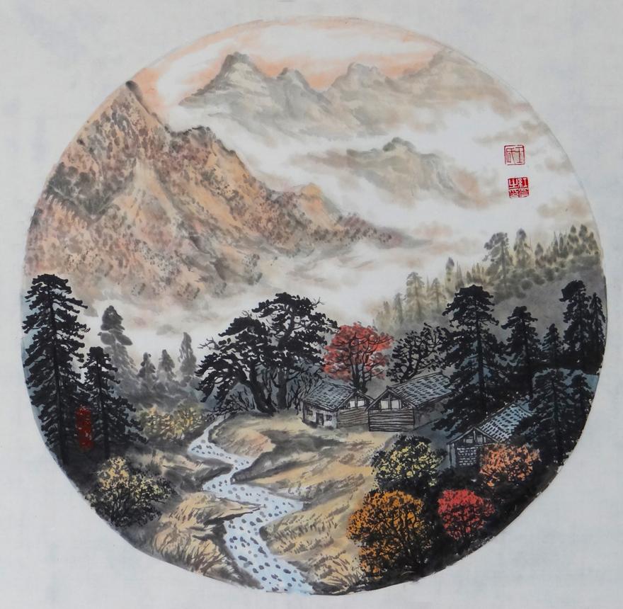 圆形山水 实力派画家 王红彦图片
