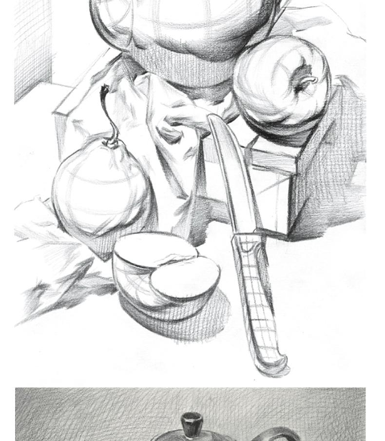素描笔迹几何形体素描静物教程组合美术入门自学零基础学画几何体教学