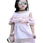 茉蒂菲莉 儿童连衣裙 女2017夏季新款女童纯色圆领韩版漏肩裙子镂空女孩蕾丝花边公主裙时尚童装