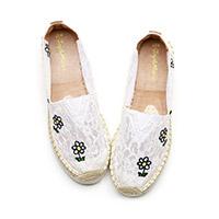 jm快乐玛丽2018夏季新款小清新平底松糕鞋厚底蕾丝帆布鞋渔夫鞋女52033W