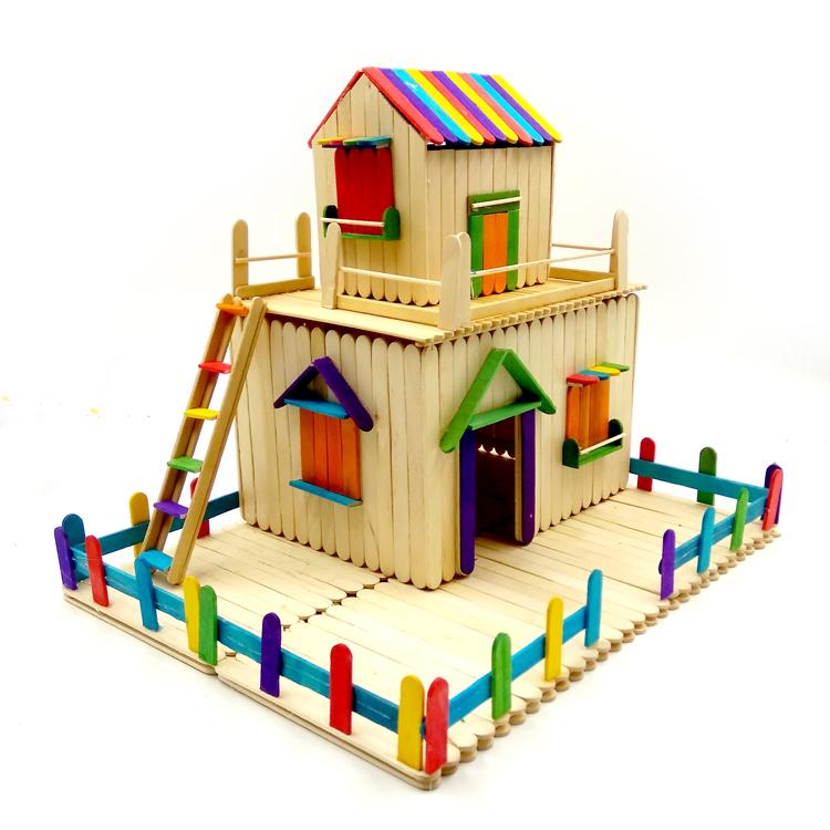 房屋模型拼装材料 雪糕棒棍木条diy手工制作房子模型冰棒棍棒拼装玩具