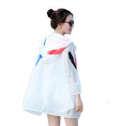 防晒衣女2017女装夏装新款印花沙滩防晒服薄中长款大码白色短外套