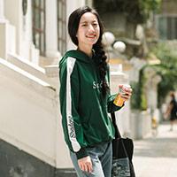 茵曼2018秋装新款立体绣花运动减龄拼色连帽卫衣女【F1883082805】