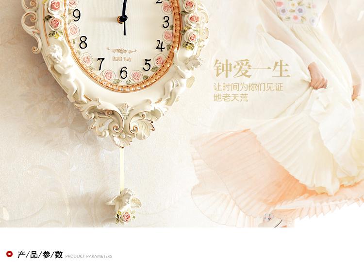 树脂挂钟客厅天使欧式田园卧室墙面挂表装饰静音创意钟摆壁钟艺术