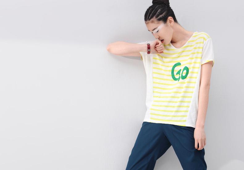 初语2014夏装新款女装 字母宽松图案横条纹拼接t型纯棉短袖t恤女