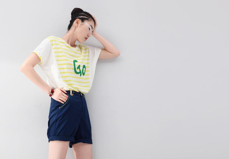 初语2014夏装新款女装 字母宽松图案横条纹拼接t型纯棉短袖t恤女 8420
