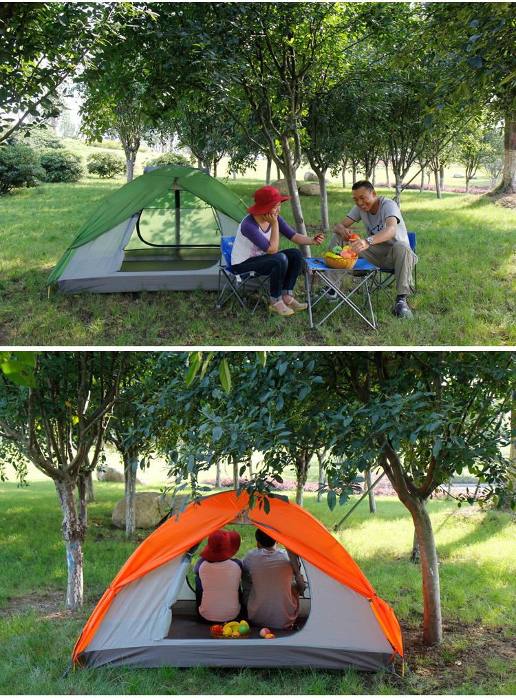 双人帐篷双层户外 防暴雨野营帐篷 旅游野外露营帐篷_红色