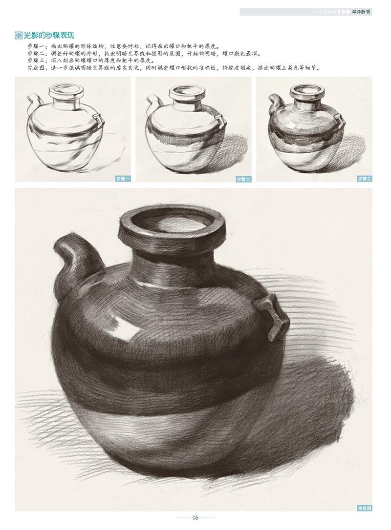 形体结构,块面分析;第二部分为单个静物步骤练习,内容包括水果,陶罐